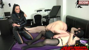 Blasunterricht für schwulen Sklaven von Domina